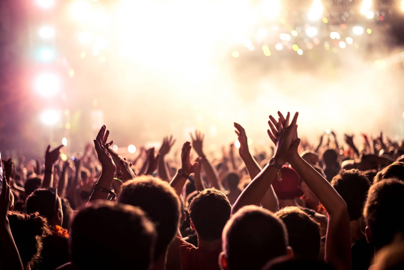Über die Köpfe der Zuschauer beim Konzert
